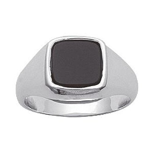 So Chic Jewels - Mens 925 Sterling Silver Onyx Signet Ring - Size 5.5 -