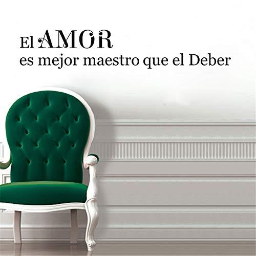 Vinyl Decal Quote Art Wall Sticker Inspirational Quotes Better Teacher Spanish Quote el Amor ES Mejor Maestro que el deber Wall Decal for Classroom -
