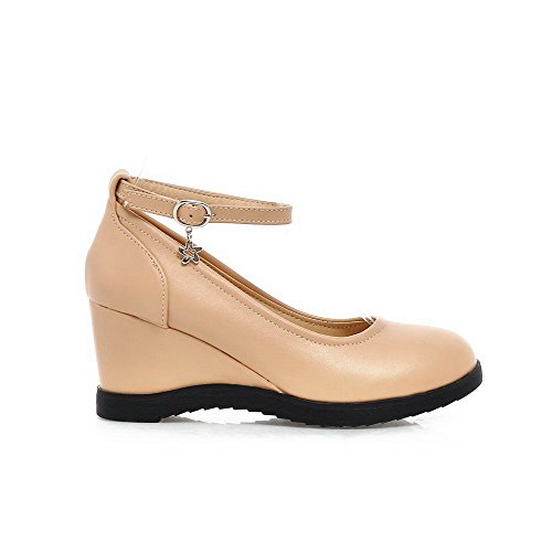 Shoes Heels apricot Pumps Material WeiPoot Toe Women's Kitten Round Closed Buckle Soft Solid TCCqwPFRx