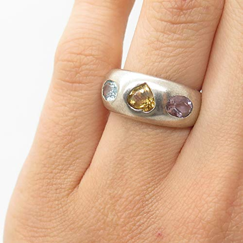 925 Sterling Silver Real Multicolor Gemstone Heart Ring Size 5.5 Jewelry by Wholesale Charms ()