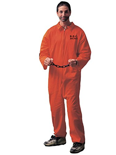 Forum Novelties Men's Adult Jailbird Costume, Orange, Standard -