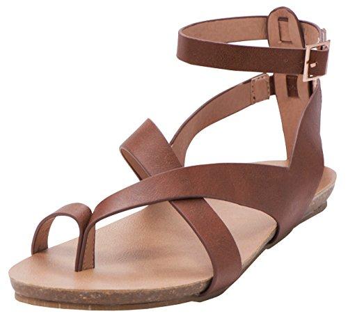 Cambridge Select Women's Crisscross Thong Buckled Ankle Strappy Flat Sandal (8 B(M) US, Tan PU)