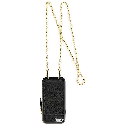 (ZVE Case for Apple iPhone 6 and iPhone 6, 4.7 inch, Zipper Wallet Case with Crossbody Chain Credit Card Holder Slot Handbag Purse Wrist Strap Print Case for Apple iPhone 6 /6s 4.7 inch - Black)