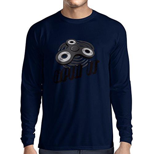 """T-shirt manica lunga da uomo Spin It - per chi ama giocare il """"Fidget Spinner giocattolo di divertimento"""" (XX-Large Azzulo Multicolore)"""