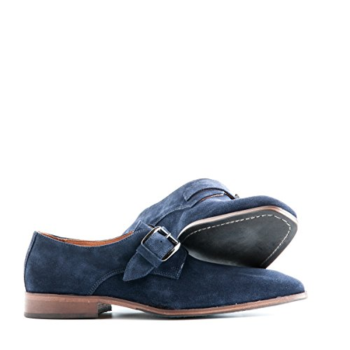 Travelin Stansted Leather Business Schuhe Herren mit Schnalle | Lederschuhe | Hochzeitschuhe | Business Schuhe | Anzugschuhe | Wildleder Blau 41 EU