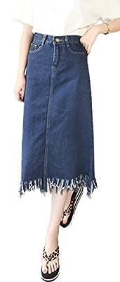 Plaid&Plain Women's High Waisted A-Line Raw Edge Midi LongDenim Jean Skirt