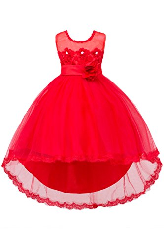 YMING Little Girls Tutu Dress With Flower Sash Wedding Party Dress Red 2-3 Years