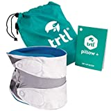 trtl Pillow Plus, Travel Pillow - Fully Adjustable Neck Pillow for Airplane Travel, Car, Bus and Rail. (Blue) Includes Water Proof Carry Bag and Setup Guide. Trtl Travel Accessories