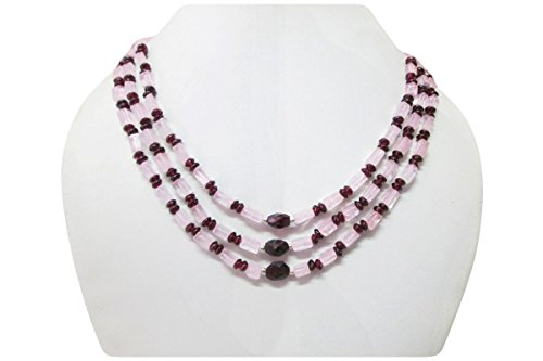 Natural Rose quartz & Garnet Beads Necklace finished with Sterling Silver Findings 16