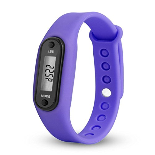 Waterproof Pedometer, Durable Digital LCD Simply Operation Run Step Walking Distance Calorie Counter Watch Bracelet Fitness Tracker Band for Women Men and All Family Numbers (Purple) ()