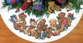 Counted Cross Stitch Christmas Tree Skirts - Christmas Bears Counted Cross Stitch Tree Skirt Kit
