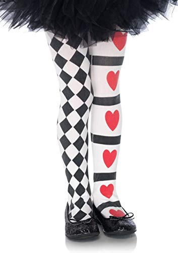 Leg Avenue's Children's Harlequin and Heart Tights, Black/White, Large
