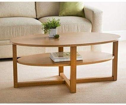 Milton Contemporary Oak Finish Oval Shaped Coffee Table Undershelf Amazon Co Uk Kitchen Home