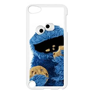 Cookie Monster Muppet Eating Biscuits with White Background case ,TPU Phone case for ipod 5,white