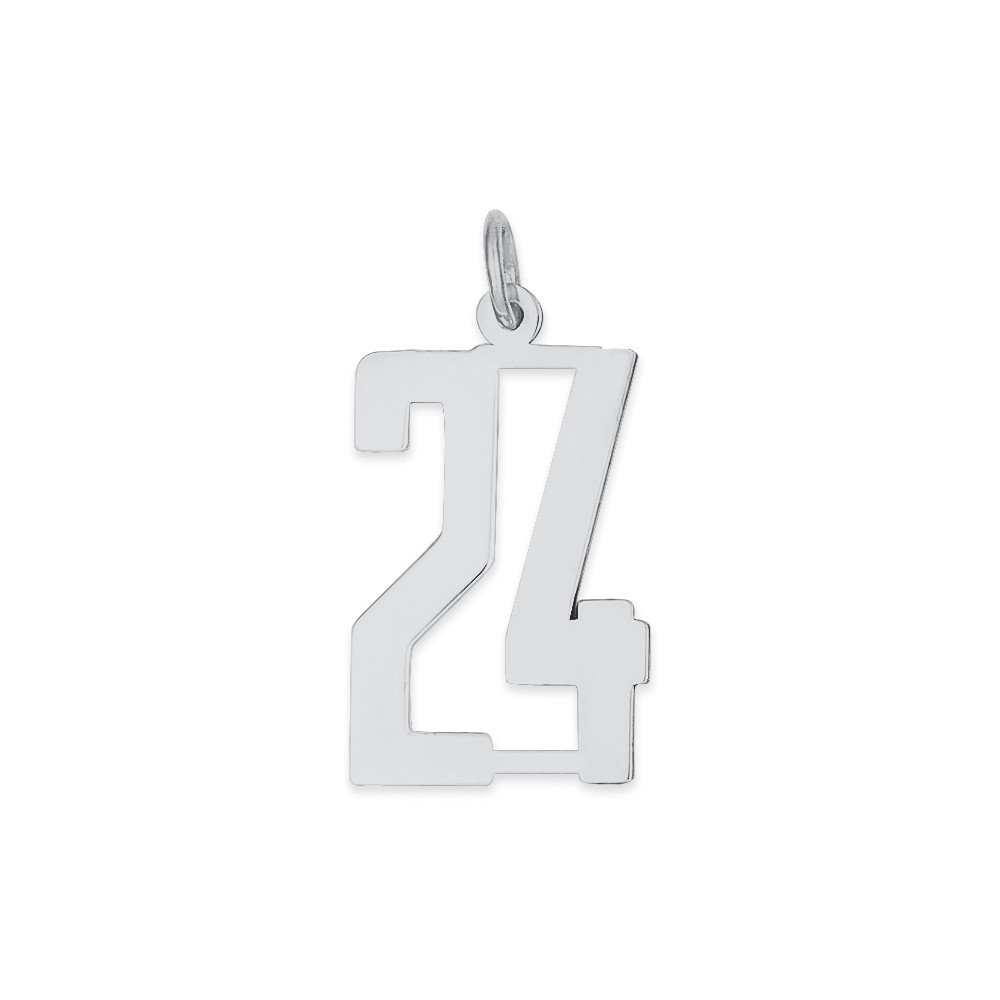 925 Sterling Silver Number 24 Pendant Twenty Four Digit Charm Numeral Elongated Small