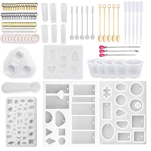 Silicone Jewelry Casting Molds, Resin Casting Molds and Tools Set Including Screw Eye Pin, Open Jump Ring, Wood Stirrer, Plastic Spoon, Dropper, Cup and Finger Cots for Resin Jewelry Making (120) -