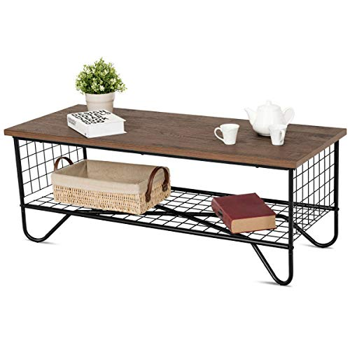 Giantex Steel Coffee Table Metal Solid Frame, Grid Patten for Living Room Bedroom Accent Cocktail Sofa Side Table
