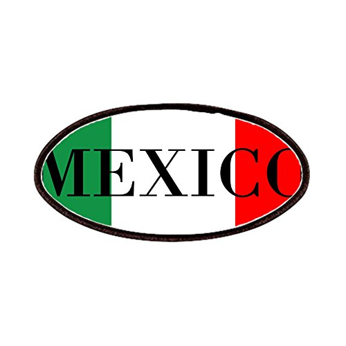 CafePress - Mexico Flag Colors Patches - Patch, 4x2in Printed Novelty Applique (2 Color Patch Auto)