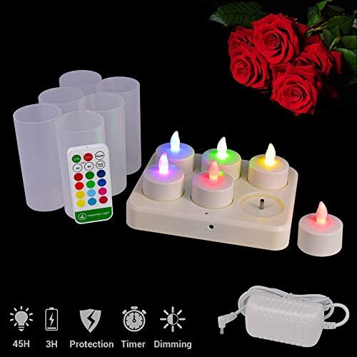 HL Flameless Rechargeable Tealights, Flickering Led Candle Light, 45 Hours Multi-Color Lasting with Remote for Centerpiece Night Clubs Spas Wedding Party Decorations RGB, 6 Pack