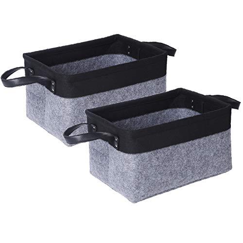 - Foldable Felt Storage Basket with Handle - 2Pack Large Collapsible & Convenient Storage Basket Set for Nursery(2Pcs Black, 14.5