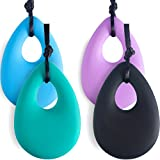 TecUnite 4 Pieces Chewing Necklace for Boys and Girls, Silicone Teething Necklace Pendants for Mom to Wear, Baby Teething Toys, 4 Colors