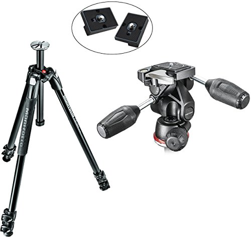 Manfrotto MK290XTA3-3WUS 290 Xtra 3-Way Head Kit (Black) and Two ZAYKiR RC2 Quick Release Plates by Manfrotto