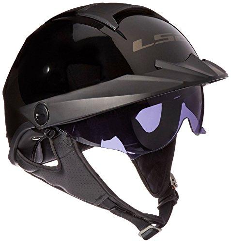 LS2 Helmets Rebellion Unisex-Adult Half Helmet Motorcycle Helmet (Gloss Black, XX-Large)