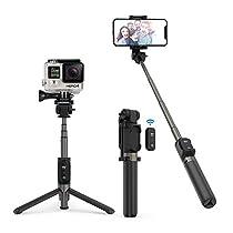 """Bastone Selfie TaoTronics Selfie Stick Tripode Estensibile Treppiedi in Alluminio con Telecomando Bluetooth 3.0, Batteria Ricaricabile, Compatibile con Smartphone Android / iOS, GoPro o Action Camera con Vite di Montaggio da 1/4"""""""