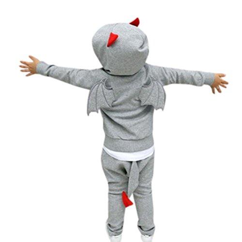 Omiky® 2 stücke Kleinkind Kinder Baby Jungen Mädchen Kleidung Set Flügel Hoodie Tops + Hosen Outfits Grau