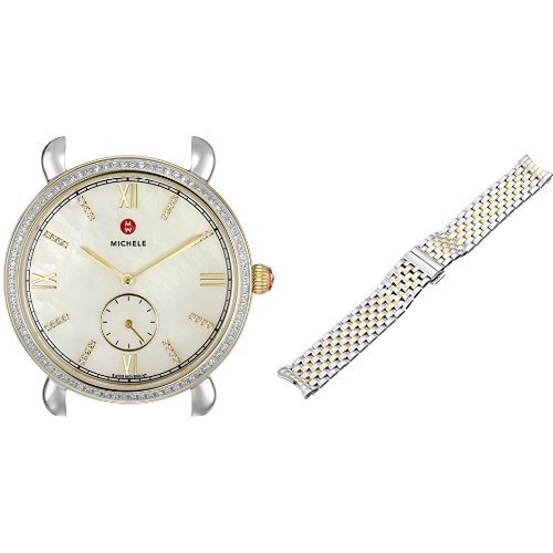 MICHELE-Womens-Gracile-Analog-Display-Swiss-Quartz-Silver-Watch-with-Two-Tone-Watch-Band
