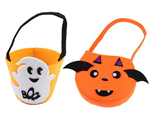 Absolutely Perfect Children's 2 Pack Halloween Trick or Treat Candy Bags Pumpkin Goody Tote Sacks Devil Fire and Demon