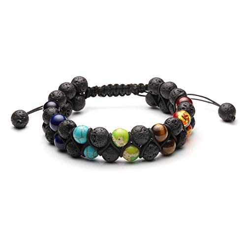 Jovivi 8mm Men Women 7 Chakra Bracelet Double Layer Natural Energy Healing Stone Essential Oil Lava Rock Yoga Beads Bracelets Meditation Adjustable ()