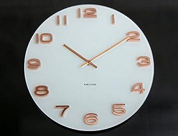 Karlsson Uhren wanduhr glas karlsson vintage uhr weiß kupfer rosegold bürouhr