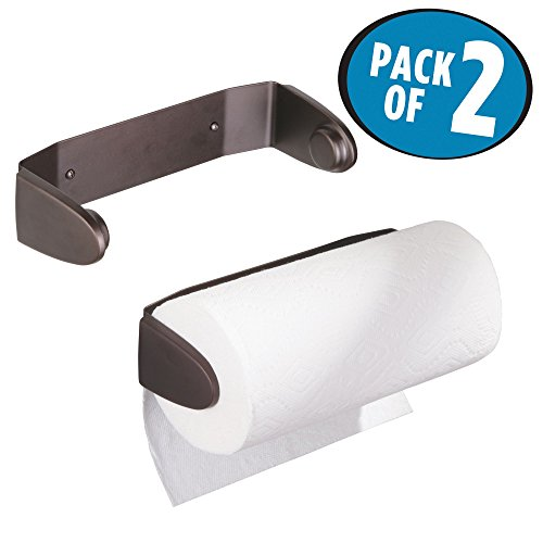 mDesign Wall Mount Paper Towel Holder & Dispenser, Mounts to Walls or Under Cabinets - for Kitchen, Pantry, Utility Room, Laundry and Garage Storage - Holds Jumbo Rolls, Pack of 2, Bronze