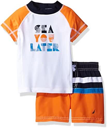 Nautica Baby Boys' Two Piece Rashguard Set with Colorblock and Artwork