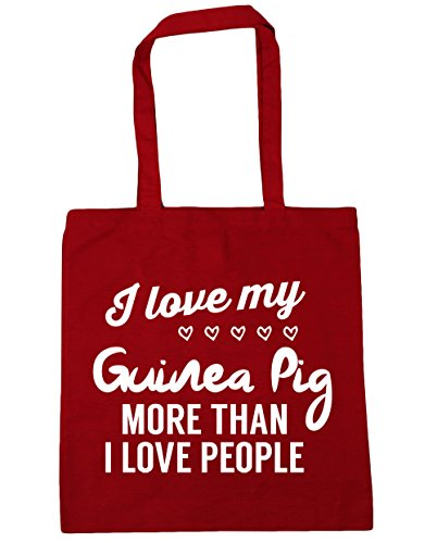 HippoWarehouse I love my guinea pig more than I love people Tote Shopping Gym Beach Bag 42cm x38cm, 10 litres Classic Red