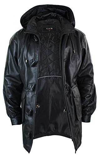 Buy leather coat with hood for men