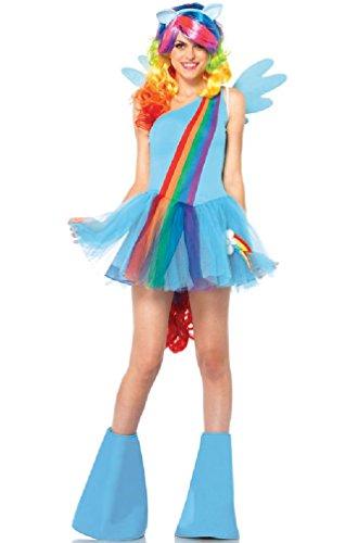 [8eighteen My Little Pony Rainbow Dash Dress Outfit Adult Costume] (Rainbow Dash Human Costume)