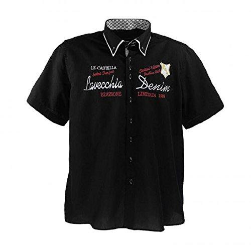 Lavecchia 211 Übergröße Kurz Arm Hemd LE Castella in Schwarz Gr. 3-7 XL