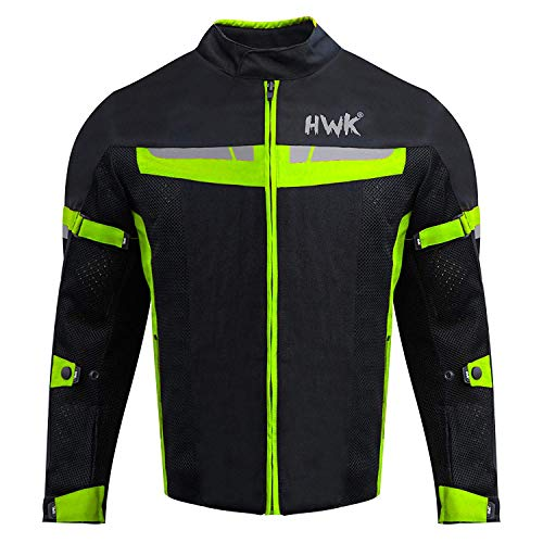 (HWK Mesh Motorcycle Jacket Riding Air Motorbike Jacket Biker CE Armored Breathable (Medium, Green))