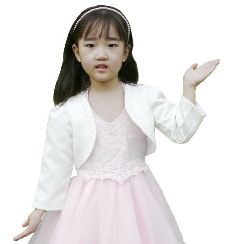 F&L Flower Girls' Long Sleeve Satin Bolero Jacket with Beadings Size 3 Ivory