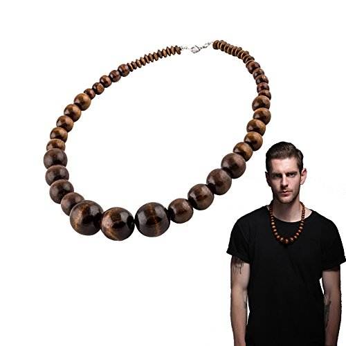 Chunky Wood Bead (Wood Bead Necklace EVBEA Africa Wooden Chain Statement Unisex Chunky Necklaces)