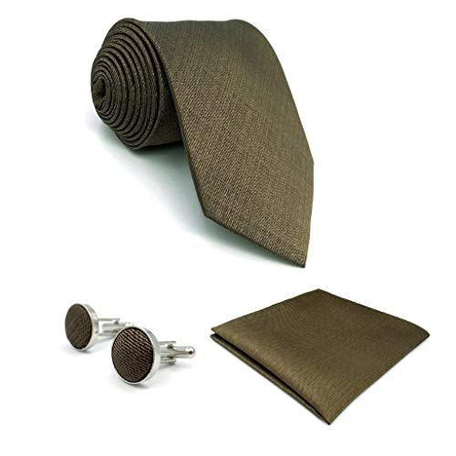S&W SHLAX&WING Ties for Men Necktie Set with Pocket Square Cufflinks Hanky XL 09 ()