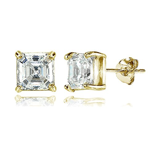 Yellow Gold Flashed Sterling Silver Asscher-Cut 6mm Stud Earrings Made with Swarovski Zirconia (Asscher Stud)