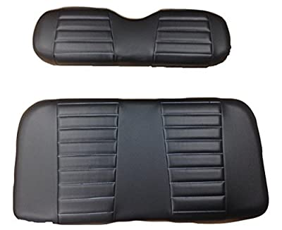 Kool Cushions™ Yamdrive--bkbkplt-01 -Custom Vinyl Golf Cart Seat Covers Front Only-black with Black Pleats - For Yamaha Drive Golf Cart …