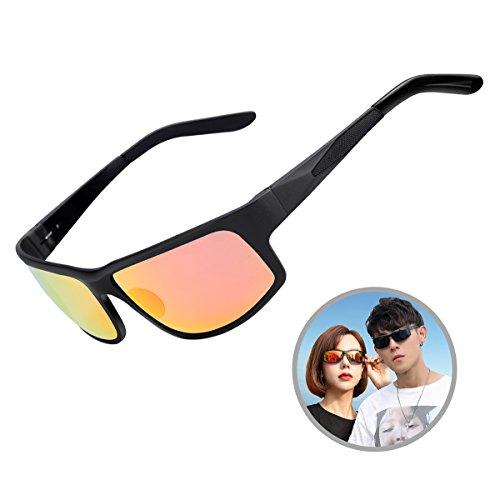 lasses for Men Women Driving Fishing Wrap Round Aviator Sunglasses with UV400 Unbreakable Lens & Metal Frame (Orange Mirror) ()