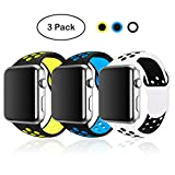SMEECO 3 Pack Watch Bands Compatible with Apple Watch Band 42mm 44mm Breathable Silicone Strap Replacement Wristbands for iWatch Series 4 Series 3 Series 2 Series 1 Nike+ Edition (42mm/44mm M/L)