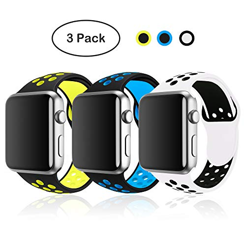 SMEECO 3 Pack Watch Bands Compatible with Apple Watch Band 38mm 40mm Breathable Silicone Strap Replacement Wristbands for iWatch Series 4 Series 3 Series 2 Series 1 Nike+ Edition (38mm/40mm S/M)