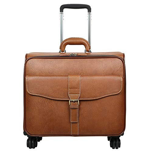 Leathario Leather Rolling Laptop Case Wheeled Briefcase Suitcase Roller Boarding