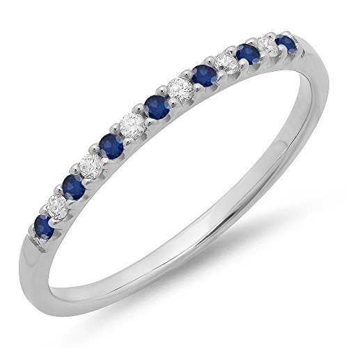 14K White Gold Round Blue Sapphire & White Diamond Anniversary Wedding Band Stackable Ring (Size 8.5) (Sapphire Ring 14k Diamond)